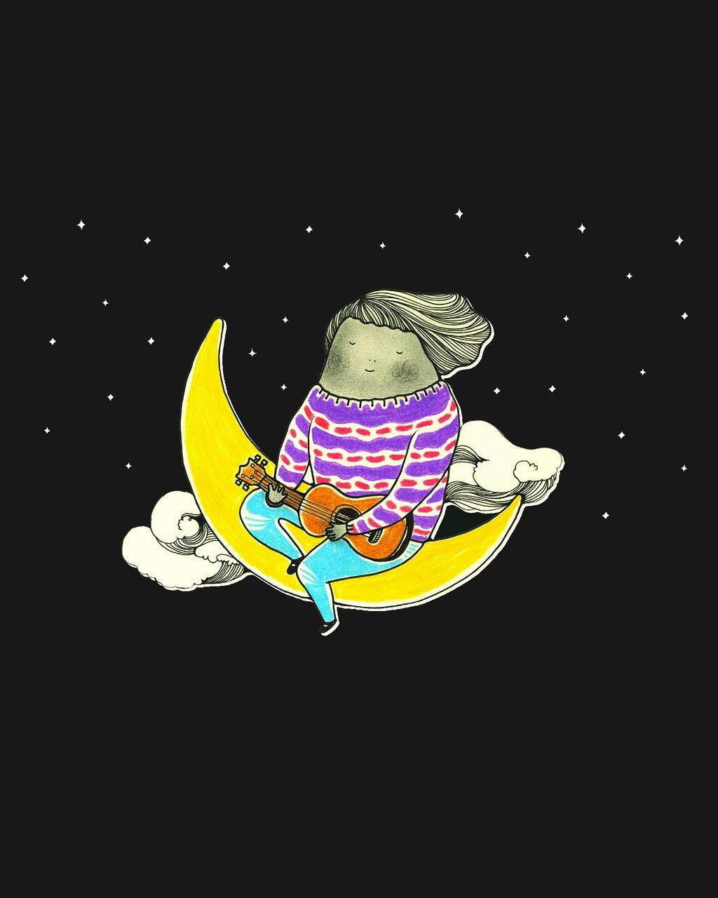 Zitten op de maan
